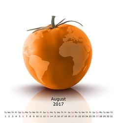 August 2017 tomato calendar vector