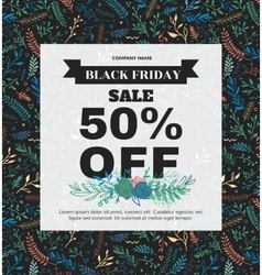 banner black friday made different floral vector image