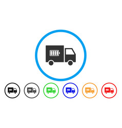 battery delivery truck rounded icon vector image