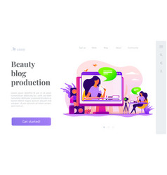 Beauty blogger landing page template vector