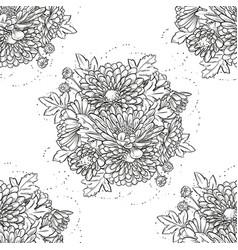 big bouquet chrysanthemum flowers vector image