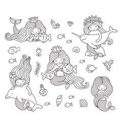 Big set of mermaids with different animals vector