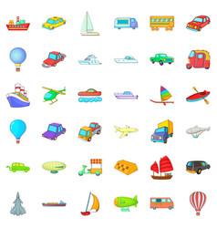 Big vehicle icons set cartoon style vector