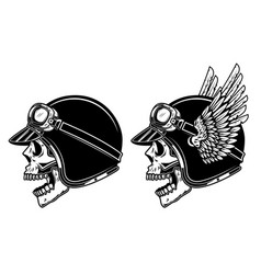 biker skull in winged racer helmet design element vector image