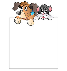 blank frame with lurking pets vector image