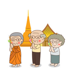 Buddhist walking with lighted candle in hand vector