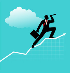 businessman using telescope on graphic chart vector image