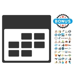 Calendar Month Grid Flat Icon With Bonus vector image