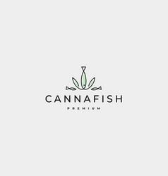 Cannabis fish logo design vector