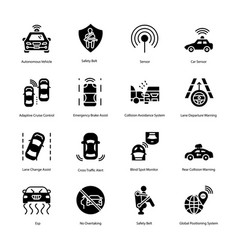Car driving glyph icons vector