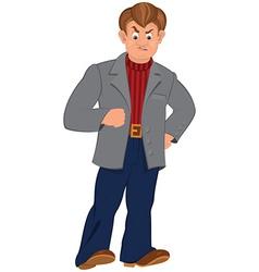 Cartoon angry man in gray jacket vector