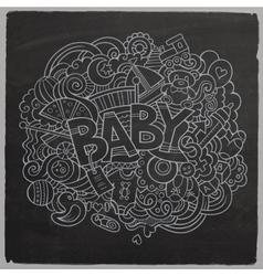 Cartoon hand drawn Doodle Baby vector