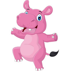 cartoon happy hippo dancing on white background vector image
