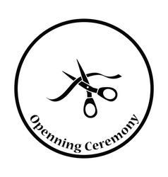 Ceremony ribbon cut icon vector image