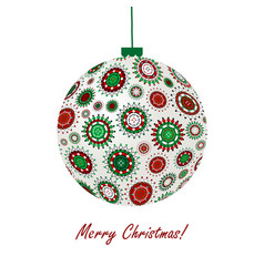 christmas ball made of snowflakes vector image