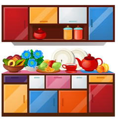 Colored kitchen cupboard dishes and fresh fruit vector