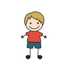 colorful hand drawing cute boy with blond hair vector image