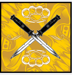 cross dagger hand drawing vector image