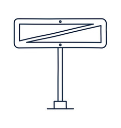 crossed out rectangle road sign icon in doodle vector image