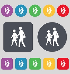 Crosswalk icon sign A set of 12 colored buttons vector