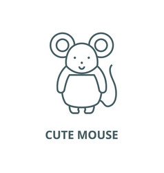 cute mouse line icon cute mouse outline vector image