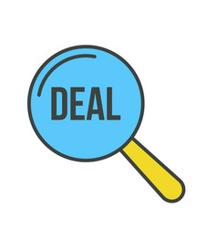deal word magnifying glass vector image