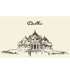Delhi Akshardham Temple drawn sketch vector
