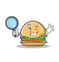 Detective burger character fast food vector