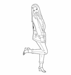 Drawing of a woman with a bag vector