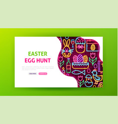 Easter egg hunt neon landing page vector