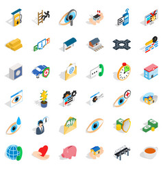 Exploration icons set isometric style vector