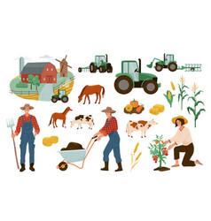 Farm set farmers working vector