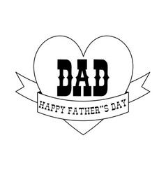 fathers day black outline heart banner vector image