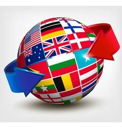 Flags world in globe with an arrow vector