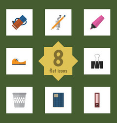 Flat icon stationery set of dossier paper clip vector