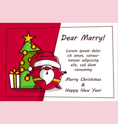 flat invitation card with santa logo line art vector image