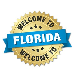 Florida 3d gold badge with blue ribbon vector