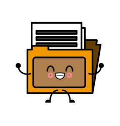folder document symbol cute kawaii cartoon vector image