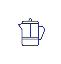 French press line icon on white vector