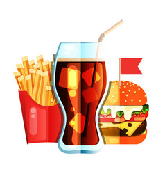 fry french with burger and soda flat design vector image