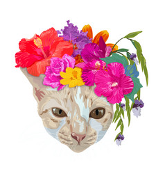 ginger cat head wear chaplet with colorful flower vector image