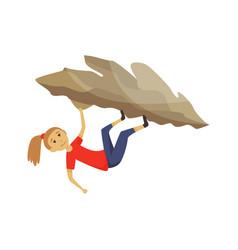 Girl climbing on a rock mountain with equipment vector