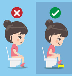 Girl demonstrates how to sit excrete properly vector