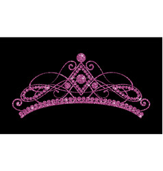 Glittering diadem pink purple tiara isolated on vector