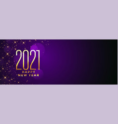 Golden happy new year 2021 on purple bokeh vector