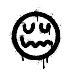Graffiti scary sick face emoticon sprayed vector