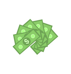 Green paper banknotes of american dollars in fan vector