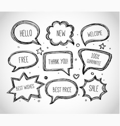hand-drawn speech and thought bubbles on white vector image vector image