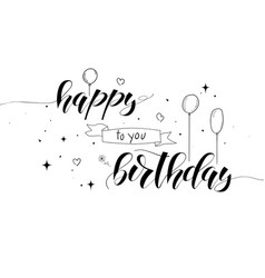 Happy birthday handwritten text with lettering vector