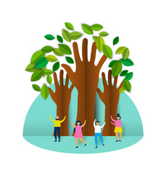 Happy eco friendly people group with paper trees vector